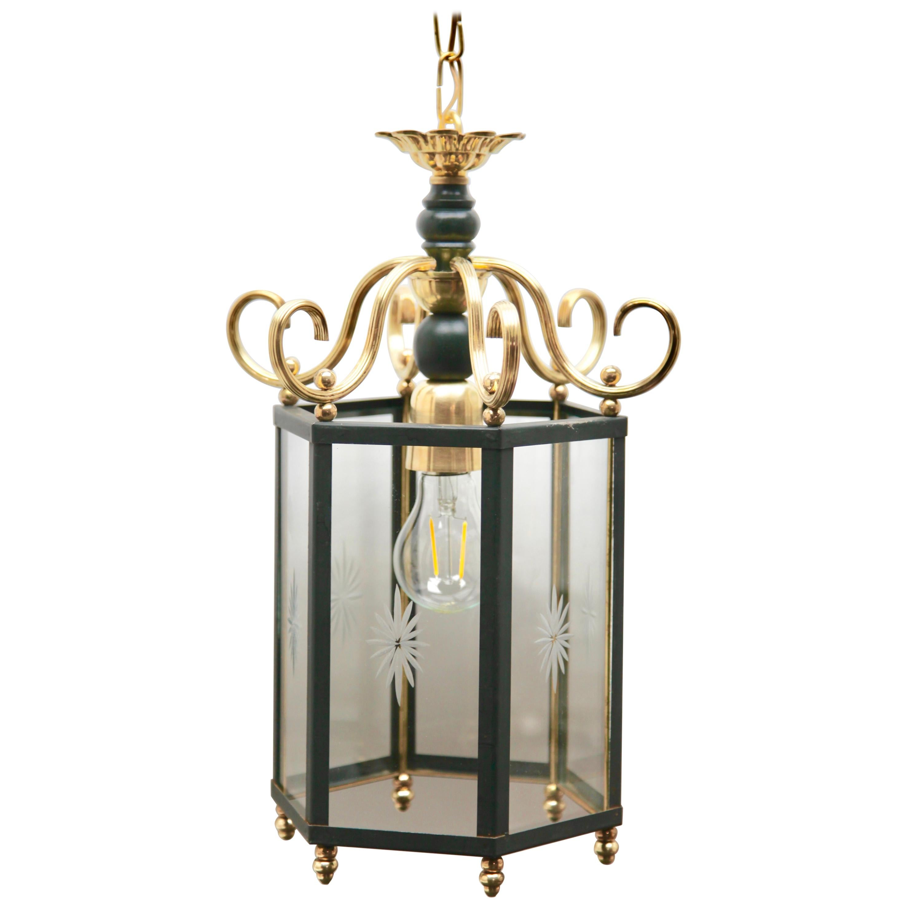 Brass and Etched with a Starburst Pattern Glass Lantern Hall Light