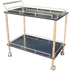 Brass and Faux Bamboo Bar Cart