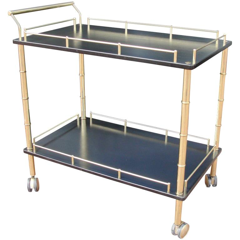 Brass and Faux Bamboo Bar Cart For Sale