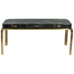 Brass and Faux Marble Console Table by Widdicomb