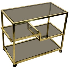 Brass and Four Tiers Smoked Glass Serving Bar Cart, Italy, 1960s Romeo Rega