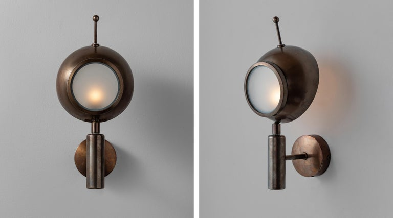 Brass and Frosted Glass Wall Sconce, Italy, 21st Century In New Condition For Sale In Culver City, CA