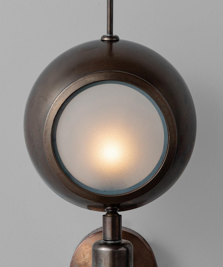 Contemporary Brass and Frosted Glass Wall Sconce, Italy, 21st Century For Sale