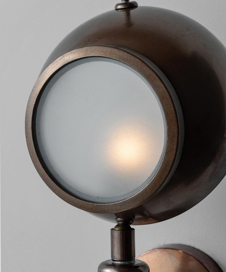 Brass and Frosted Glass Wall Sconce, Italy, 21st Century For Sale 1