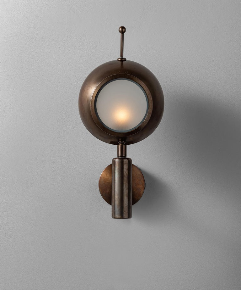 Brass and Frosted Glass Wall Sconce, Italy, 21st Century For Sale 2