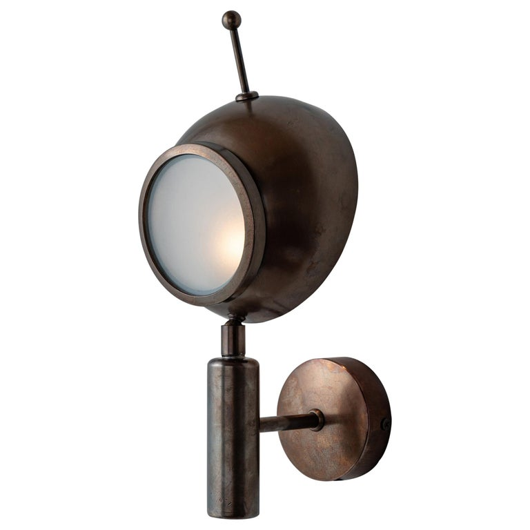 Brass and Frosted Glass Wall Sconce, Italy, 21st Century For Sale