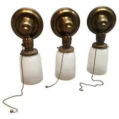 Brass and Frosted Glass Wall Sconce Lights