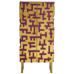 Brass and Geometric Purple Glass Contemporary Cabinet, Spain, 2018