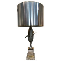"Brass and Gilt bronze ""Corn"" Table Lamp by Maison Charles"