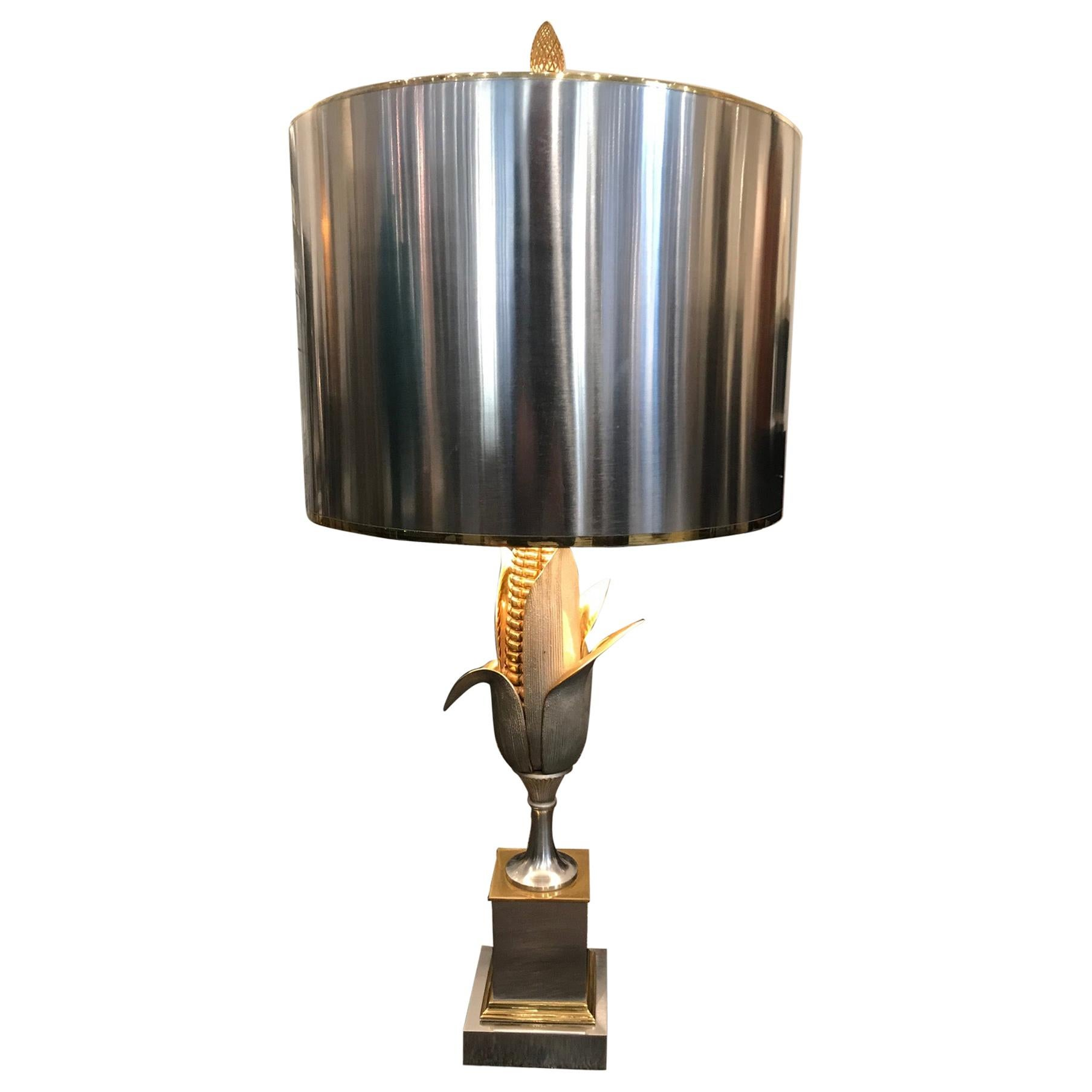 """Brass and Gilt Bronze """"Corn"""" Table Lamp by Maison Charles, France, circa 1950"""