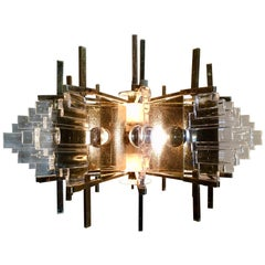 Brass and Glass 1970s Design Chandelier
