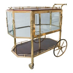 Brass and Glass 3 Tier Rolling Bar or Tea Cart