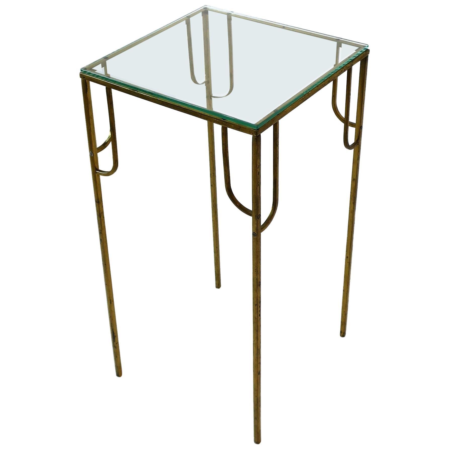 Modern Art Deco Brass and Glass Pedestal Table, 1970s