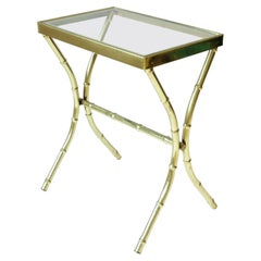 Brass and Glass Bamboo-Esque Side or End Table, Small, ca. 1960s