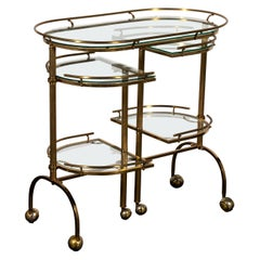 Brass and Glass Bar Cart with Movable Sides
