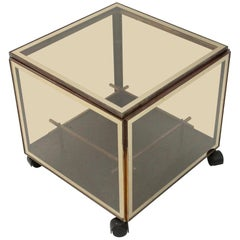 Brass and Glass Bar Coffee Table, 1970s