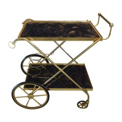 Brass and Glass Bar-Trolley by Maison Baguès, 1950s