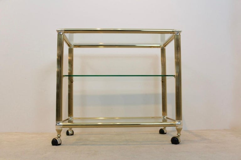 Brass and Glass Belgium Bar Cart, 1970s For Sale 4