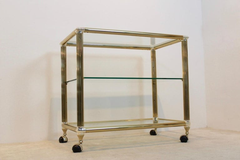 Hollywood Regency Brass and Glass Belgium Bar Cart, 1970s For Sale