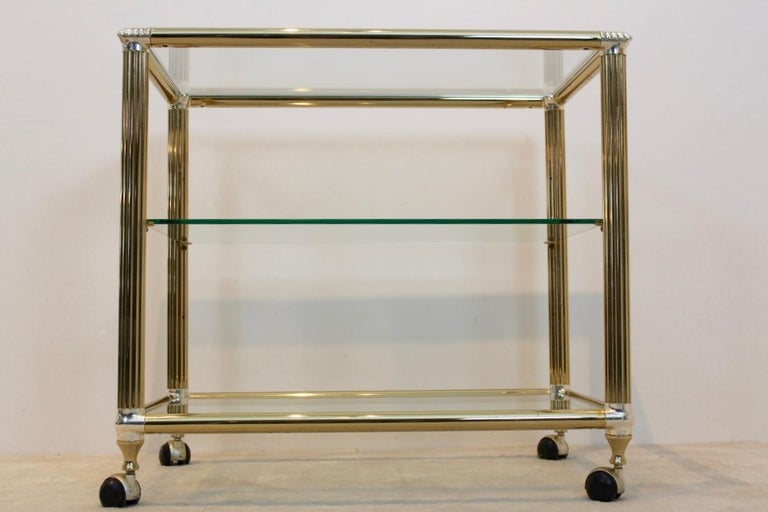 20th Century Brass and Glass Belgium Bar Cart, 1970s For Sale