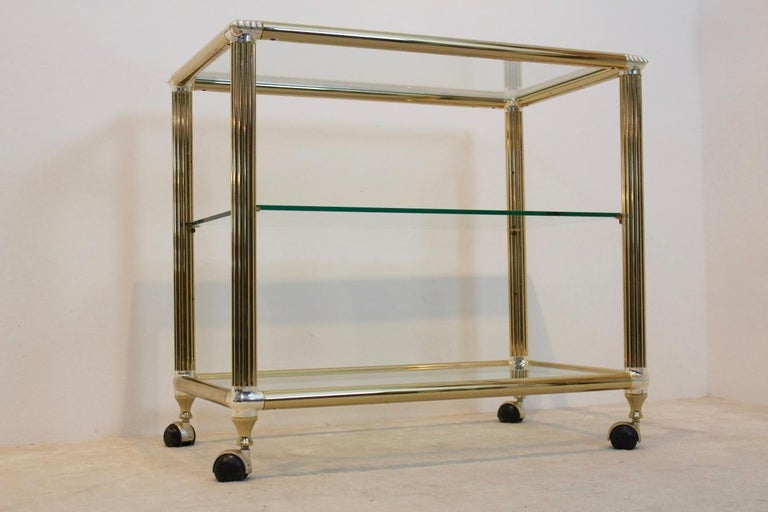 Brass and Glass Belgium Bar Cart, 1970s For Sale 1