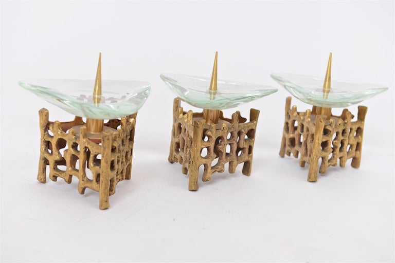 Mid-Century Modern Brass and Glass Candlesticks For Sale