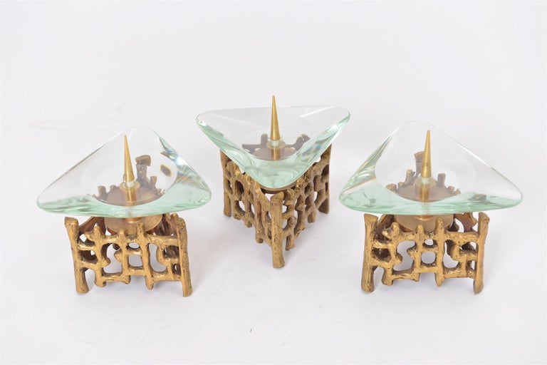 Italian Brass and Glass Candlesticks For Sale