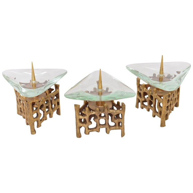 Brass and Glass Candlesticks For Sale