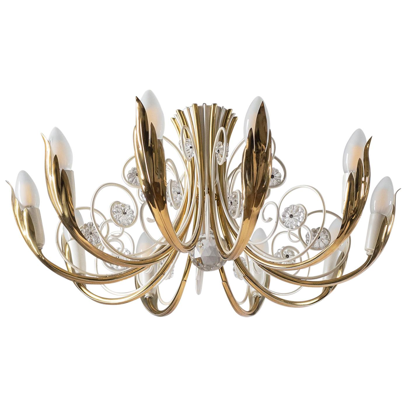 Brass and Glass Ceiling Light, 1950s