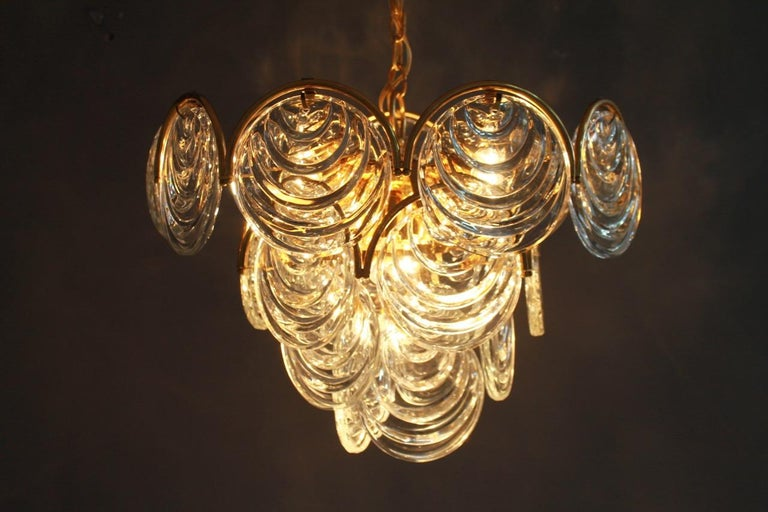 European Brass and Glass Chandelier, 1960s For Sale