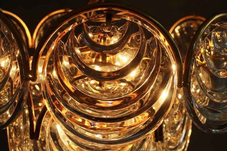 Brass and Glass Chandelier, 1960s In Good Condition For Sale In Frankfurt / Dreieich, DE