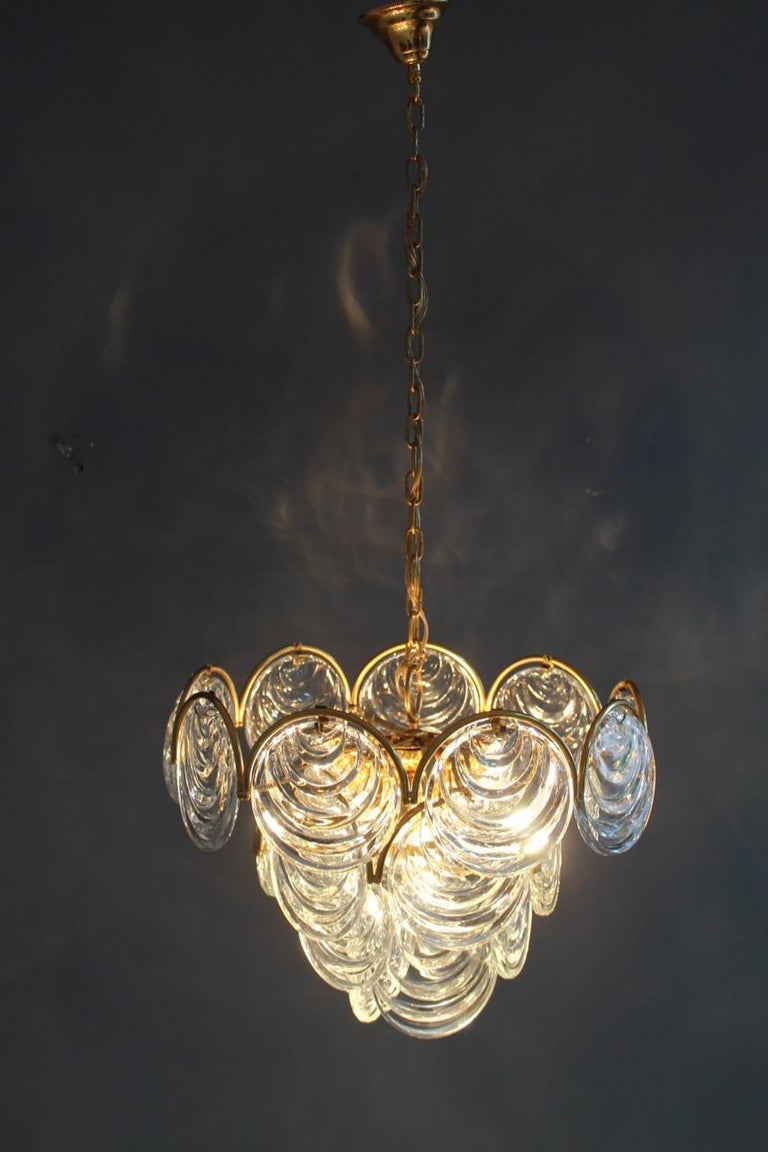 Mid-20th Century Brass and Glass Chandelier, 1960s For Sale