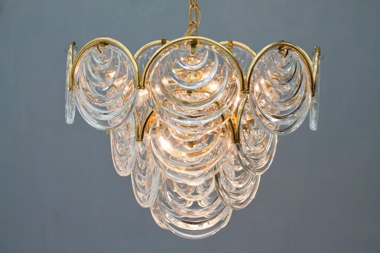 Brass and Glass Chandelier, 1960s For Sale 1