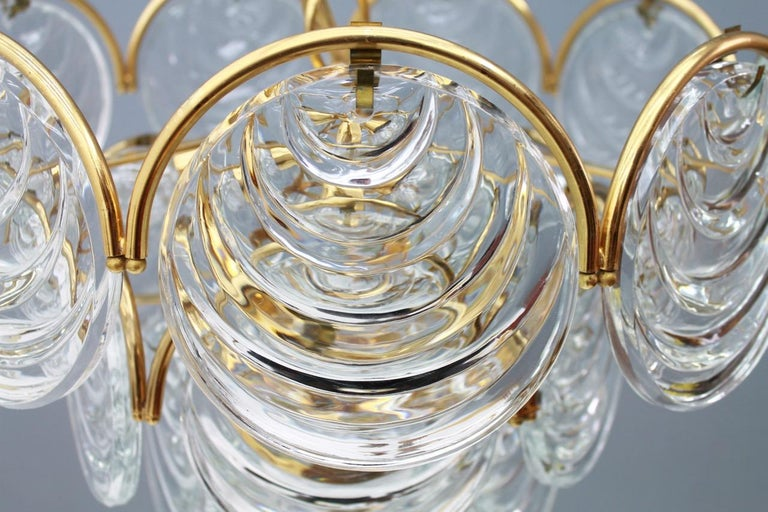 Brass and Glass Chandelier, 1960s For Sale 3