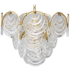 Brass and Glass Chandelier, 1960s