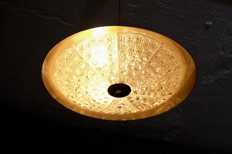 Mid-20th Century Brass and Glass Chandelier by Carl Fagerlund, 1960s