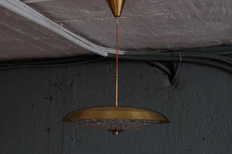 Brass and Glass Chandelier by Carl Fagerlund, 1960s 2