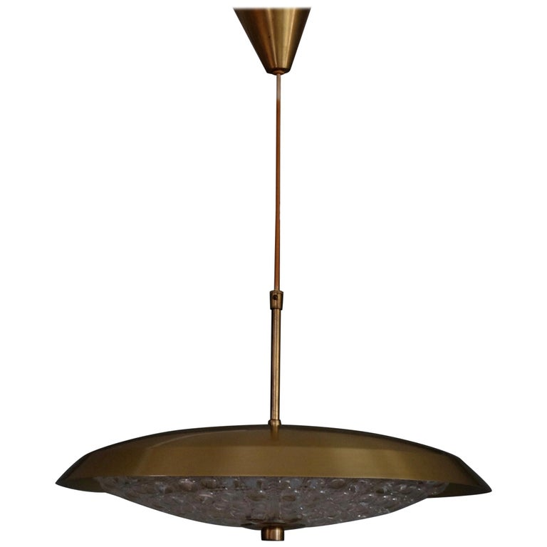 Brass and Glass Chandelier by Carl Fagerlund, 1960s
