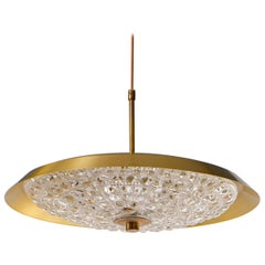 Brass and Glass Chandelier by Carl Fagerlund, Orrefors, 1960s
