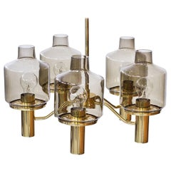 Brass and Glass Chandelier by Hans-Agne Jakobsson, 1960s