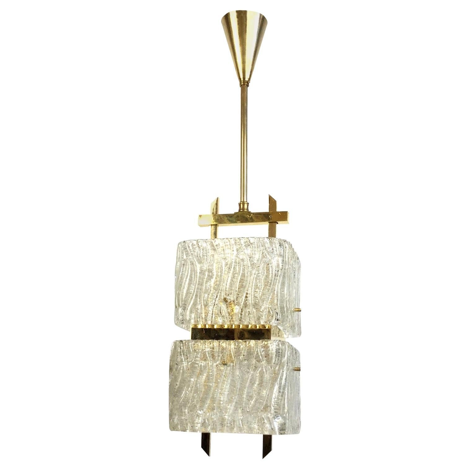 Maison Arlus Brass and Glass Chandelier France 1960s
