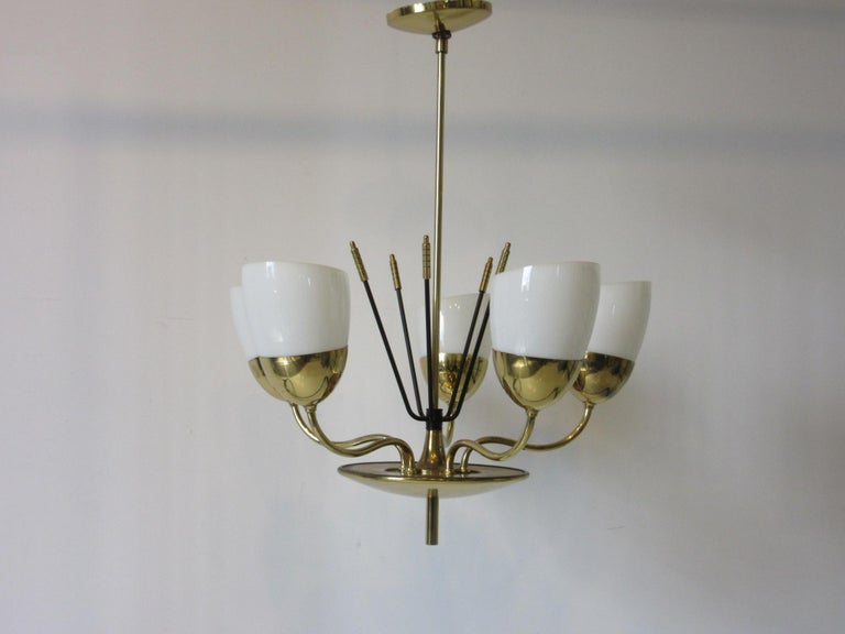 Brass and Glass Chandelier by Majestic in the Style of Arredoluce For Sale 3