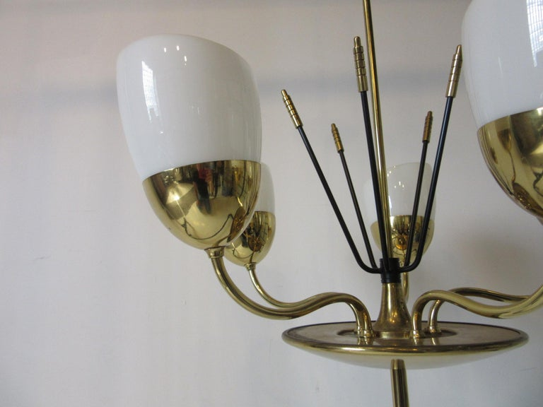 Mid-Century Modern Brass and Glass Chandelier by Majestic in the Style of Arredoluce For Sale
