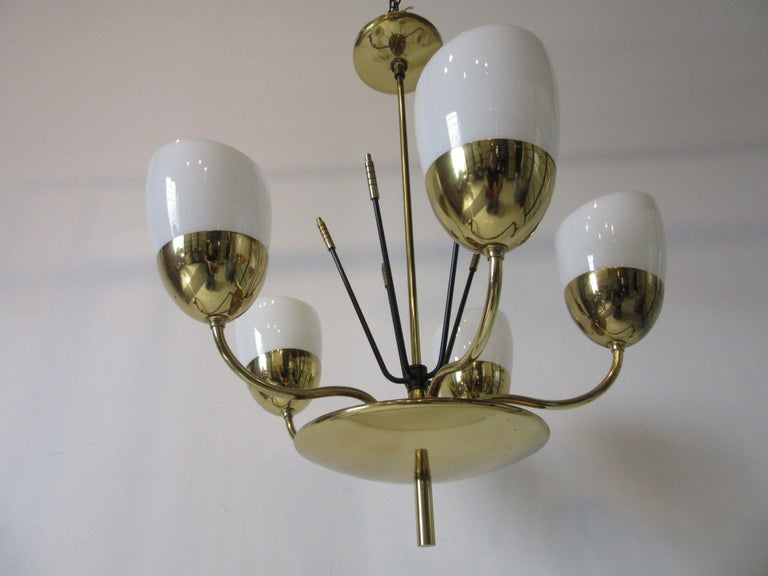 American Brass and Glass Chandelier by Majestic in the Style of Arredoluce For Sale