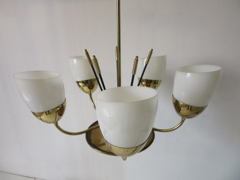 Brass and Glass Chandelier by Majestic in the Style of Arredoluce In Good Condition For Sale In Cincinnati, OH