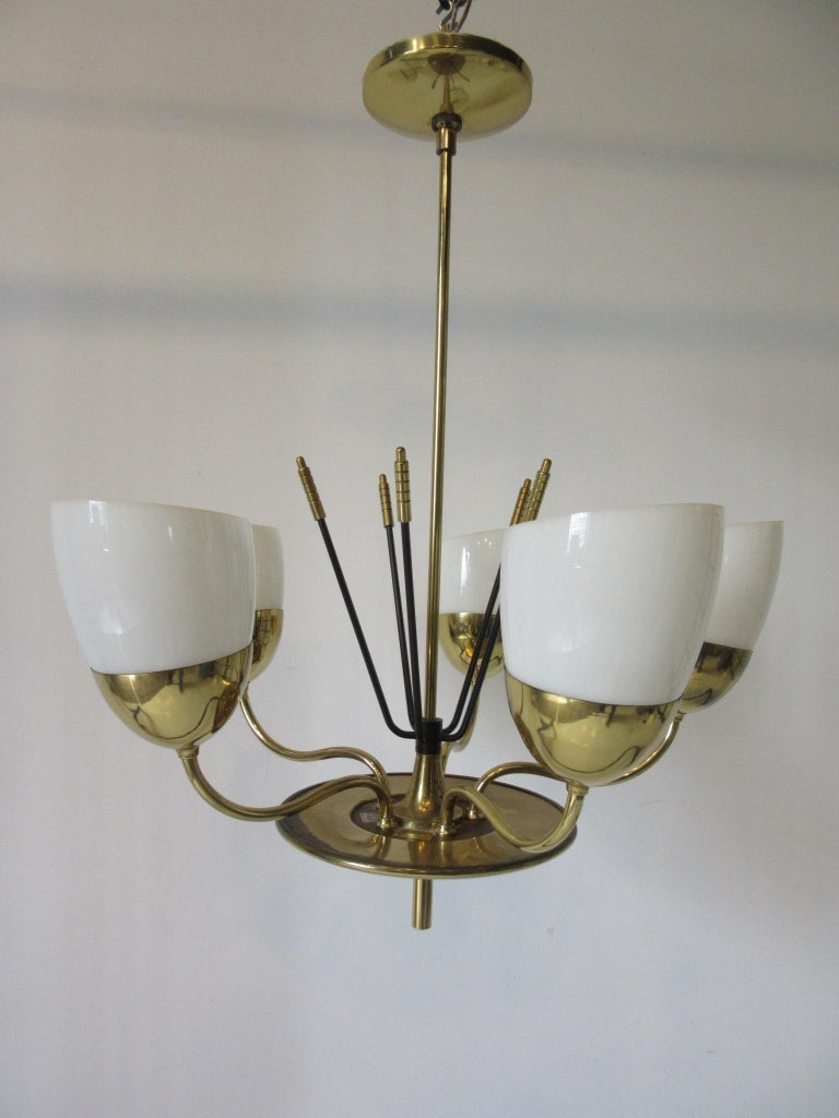 Brass and Glass Chandelier by Majestic in the Style of Arredoluce For Sale 1