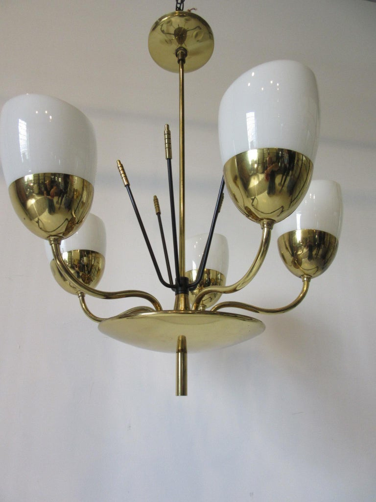 Brass and Glass Chandelier by Majestic in the Style of Arredoluce For Sale 2