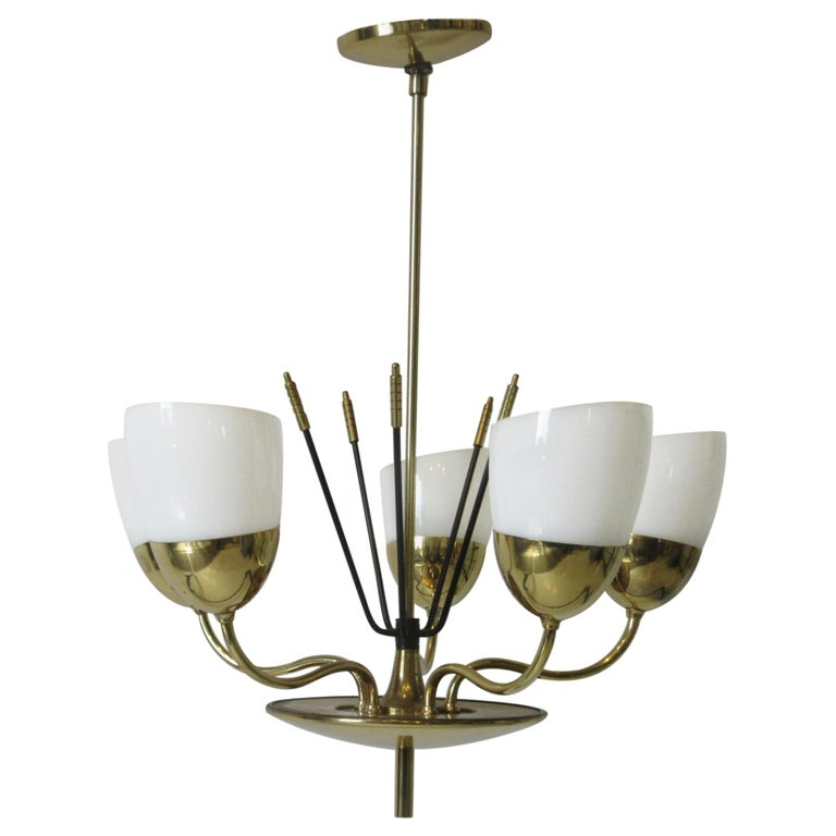 Brass and Glass Chandelier by Majestic in the Style of Arredoluce For Sale