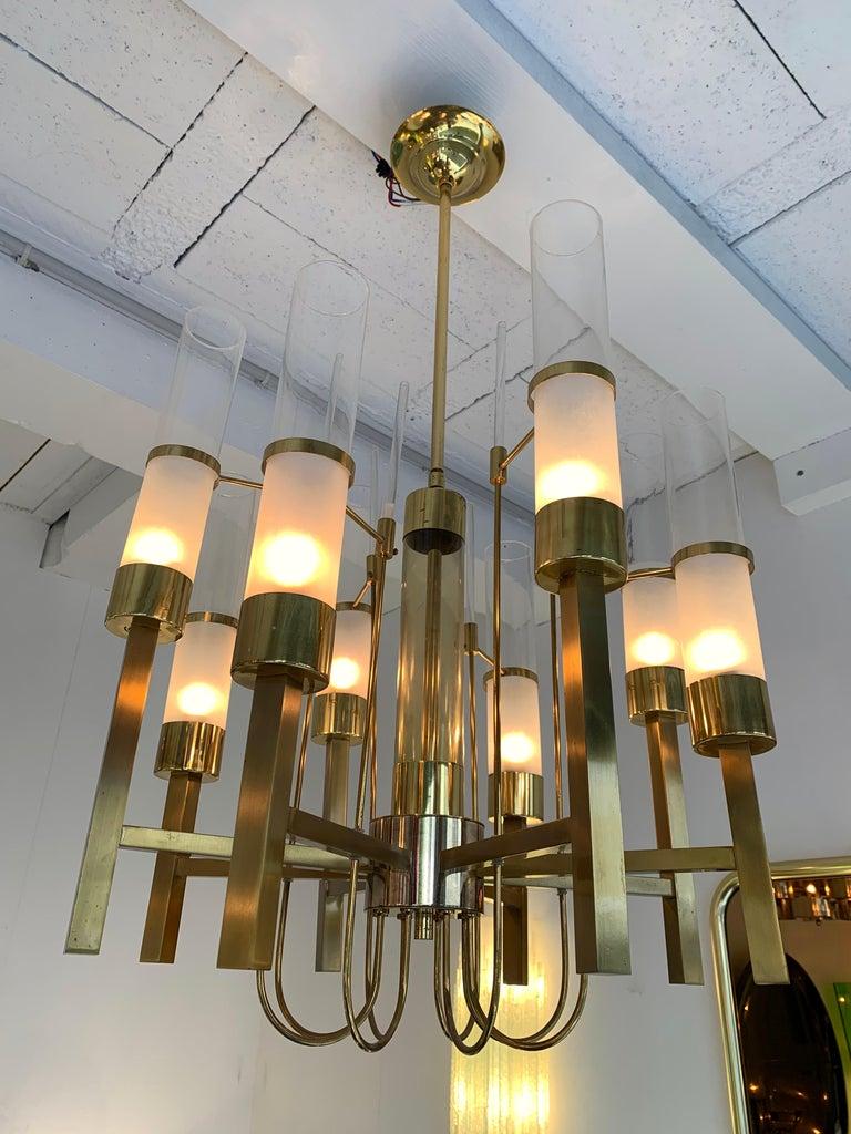 Chandelier ceiling pendant light fixture brass and frosted glass tube by Sciolari. Famous design like Reggiani, stilnovo, arteluce.
