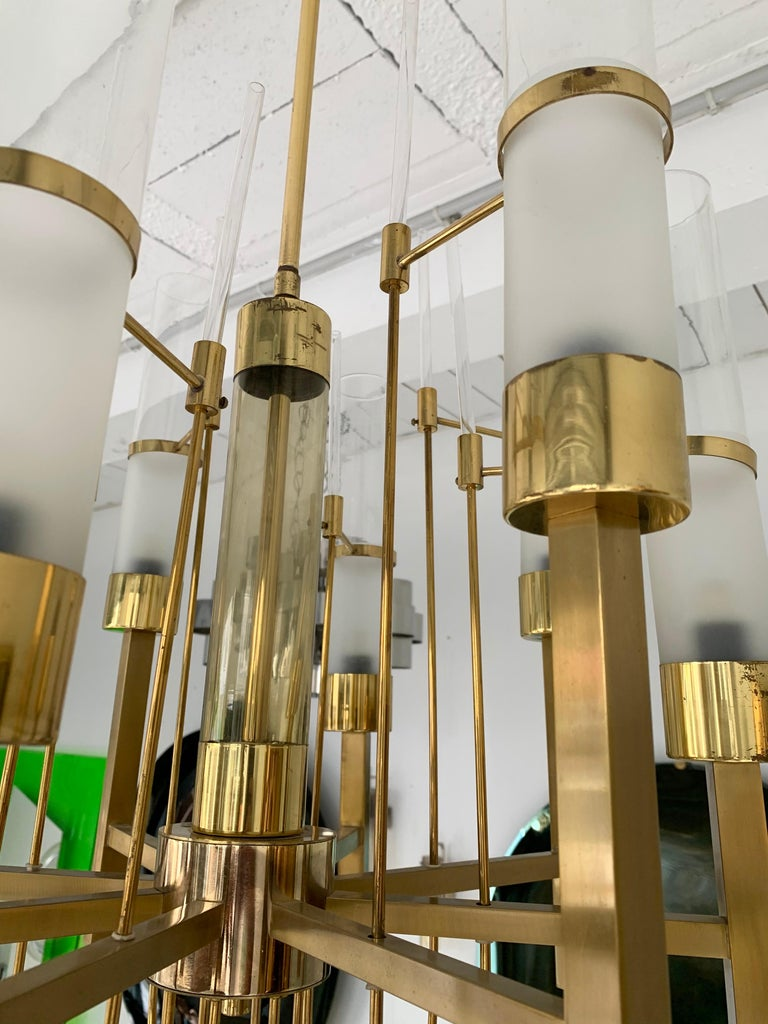 Mid-Century Modern Brass and Glass Chandelier by Sciolari, Italy, 1960s